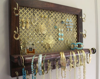 Clover Mesh Series Wall Mounted Jewelry Organizer, Wall Organizer, Jewelry Display, Necklace Holder, Earring Organizer