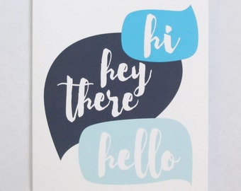 CLEARANCE! Hi Hey there Hello callout bubble greeting card