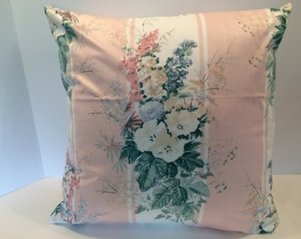 "18""x18"" HANDMADE PILLOW COVER in Thibaut's Soft Pink Spring Floral Polished Cotton, Shabby Chic (#7023PC) Free Shipping"