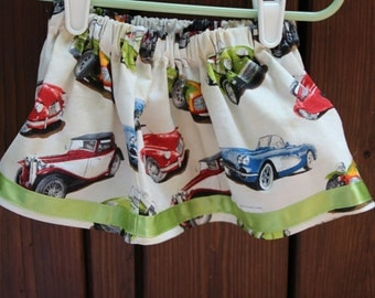 Baby - Cars Skirt with Green Satin Trim  (3-6 months)