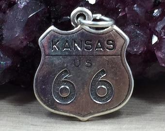 Kansas Charm, Kansas Pendant, Route 66 Charm, Kansas Route 66 Charm, Sterling Silver Kansas Charm, Historic Kansas Charm, PS06116