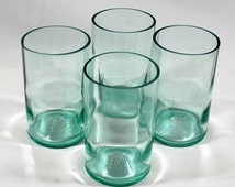 Set of 4 Pale Azure Blue 'Punt' Glasses - Handcrafted from Recycled Wine Bottles
