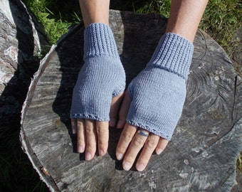 Fingerless Gloves, Knitted Mittens, Mitts Grey, Made To Order for Women and Teens, september finds, autumn trends, fall trends, fall gifts