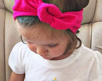 Solid Hot Magenta - baby top knot headband