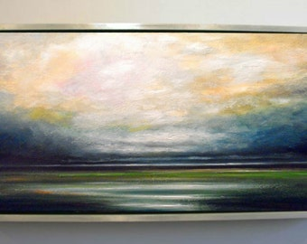 Landscape of Passing Storm over Wetlands Original Large Landscape Oil Painting