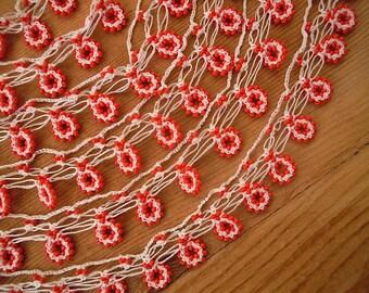 red white beaded trim, handmade crochet trim, turkish oya