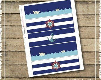 Nautical 1st Birthday Boy Party Water Label - Printables