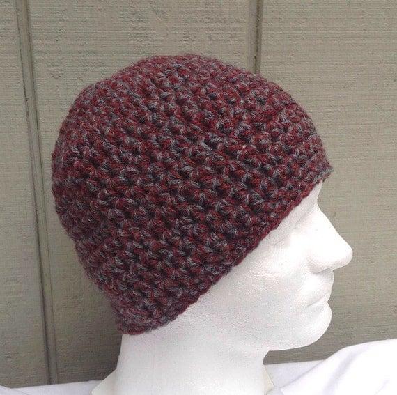 Crochet mens beanie Chunky wool blend beanie Teens hat
