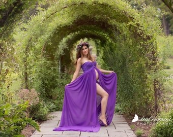 Purple Split Chiffon Lace Maternity Gown, Maternity Dress/Chiffon Gown/Maternity Photo Props/Bridal Gown/Chiffon Maternity/modeling gown