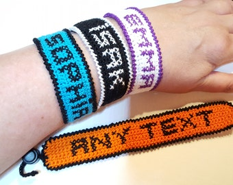 Bracelet with name or any text you wish, crochet