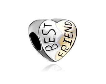 Best Friend Bead, BFF Charm, Large Hole Bead, European Bead, Charm Bead, Add a Bead, Charm Bracelet, European Charm, Big Hole Bead, Gold