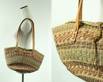 70s Woven Jute & Leather Lilac/ Seafoam Striped Sisal Tote Bag