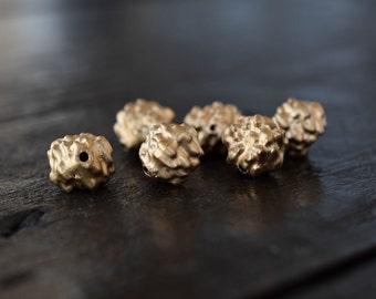 Vintage West Germany Bumpy Matte Gold Beads, 10pcs, 12mm