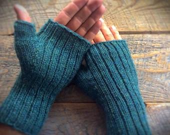 Mens green wool fingerless gloves - texting gloves, knit fingerless mittens, women, unisex