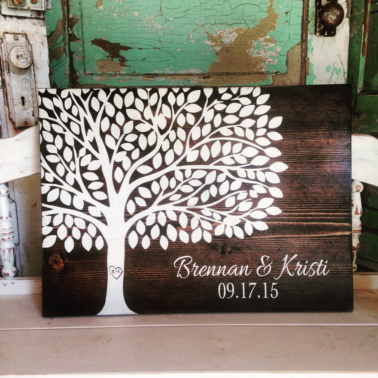 Wedding Guest Signing Tree: Wedding Tree Guest Book Established Sign By ThePaintedNestOR