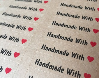 "80 HANDMADE WITH LOVE stickers- thank you labels on Kraft brown 1/2"" x 1 3/4 inch- wedding labels, party favors stickers"