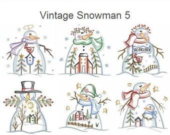 Vintage Snowman 5 Machine Embroidery Designs Instant Download 4x4 5x5 6x6 hoop 10 designs APE2186
