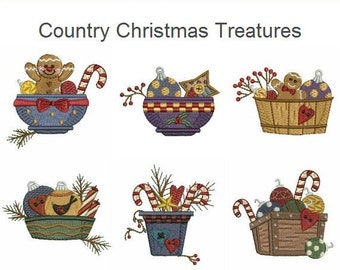 Country Christmas Treatures - Machine Embroidery Designs Instant Download 3x3 hoop 10 designs SHE1636