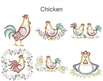 Chicken - Machine Embroidery Designs Instant Download 4x4 5x5 6x6 hoop 10 designs SHE5088