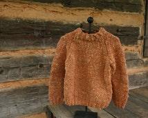 1970's Orange Chunky Hand Knit Sweater. Mock Turtleneck. Pullover Unisex Sweater. Size S M. Hipster Boho Hippie Winter Sweater.  Wool Blend.