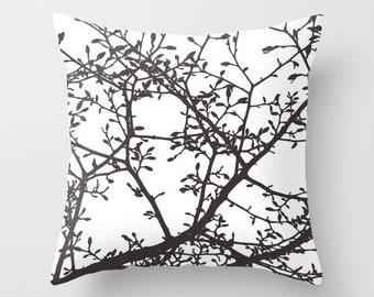 Magnolia Tree Branches Pillow Cover - Dark Brown - Modern Home Decor - Woodland Nature Decor - By Aldari Home