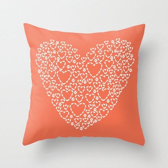 Throw Pillow Cover And Insert : Coral Heart Pillow Cover Modern Heart Pillow Cover Nursery