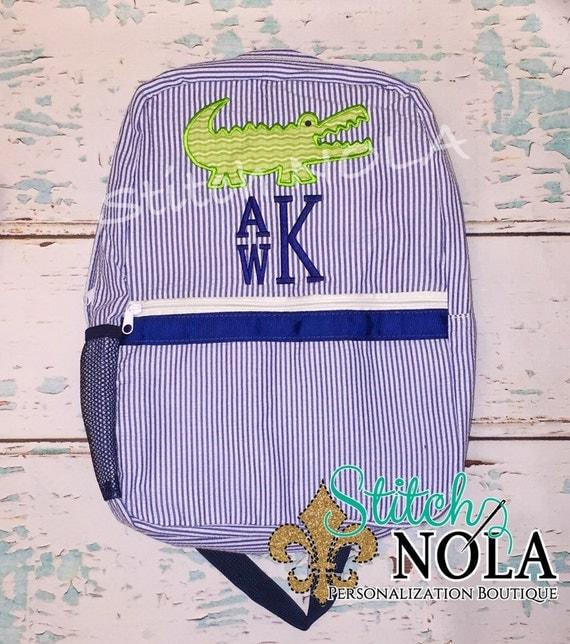 Seersucker Alligator Backpack with Stacked monogram, Seersucker Diaper Bag, Seersucker School Bag, Seersucker Bag, Diaper Bag, School Bag, B