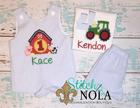 Barn or Tractor Birthday Shortall or Shirt/Shorts Set