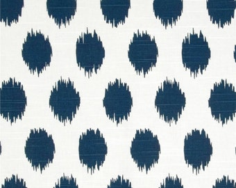Ikat Dots Navy Blue Designer Home Decor Fabric by the Yard Cotton Drapery or Upholstery Fabric Contemporary Navy Blue Dot Cotton Fabric B116