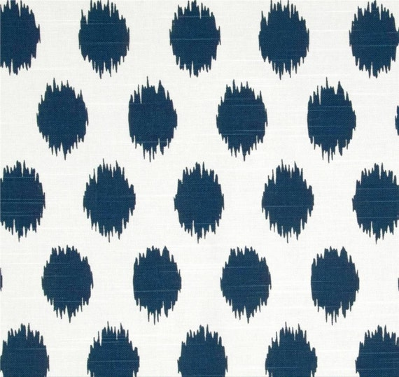 ikat dots navy blue designer home decor fabric by the yard cotton