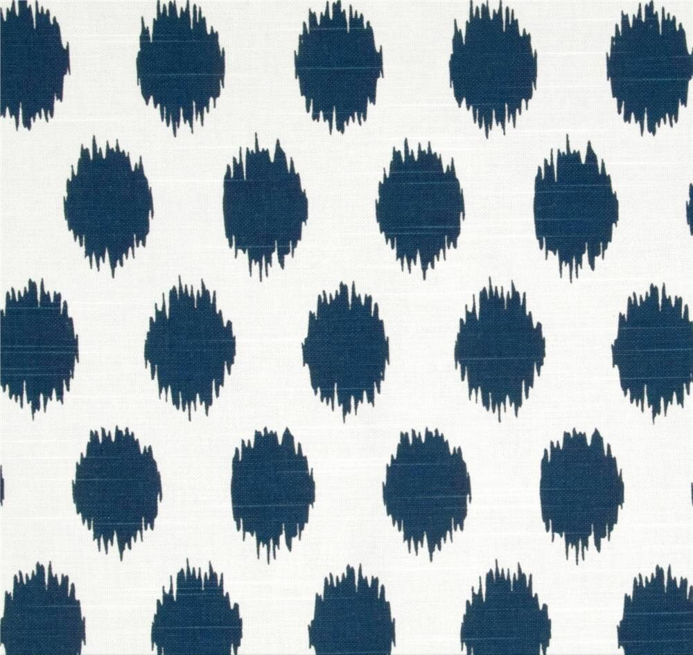 ikat dots navy blue designer home decor fabric by the yard