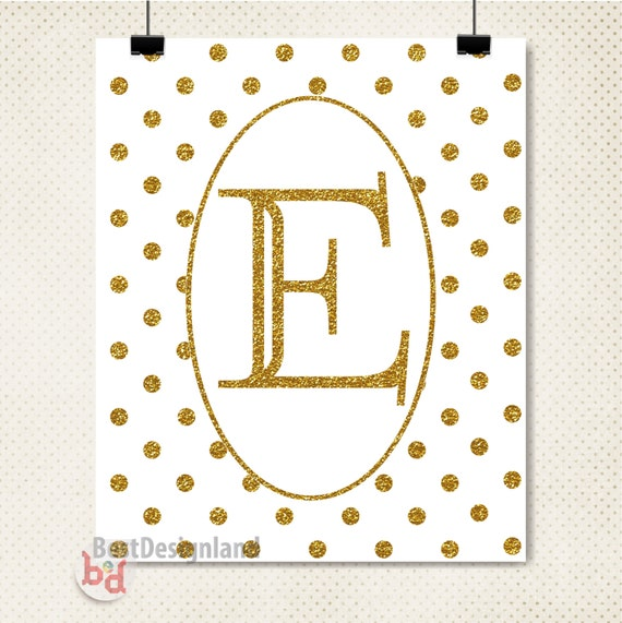 Gold Wall Decor Letters Items Similar To Monogram Letter E Wall Art Printablegold