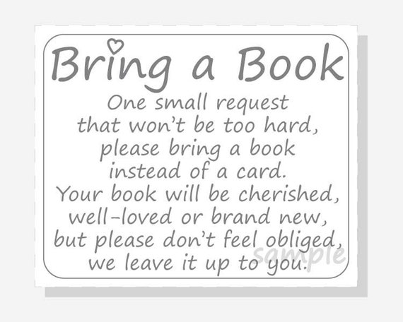 Adorable image with regard to bring a book instead of a card printable