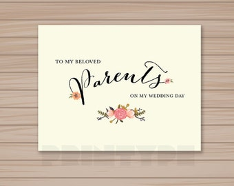 PRINTABLE To My Beloved Parents Wedding Card / INSTANT DOWNLOAD