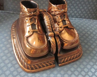 Vintage Bronzed Baby Shoes Bookends