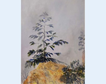 Nature painting. Landscape painting. Original fine art. Acrylic painting. Pine in mist.