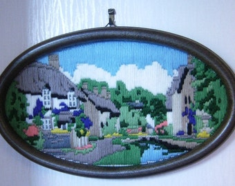 completed lovely cottage tapestry picture