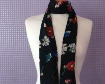 Vintage black floral skinny scarf