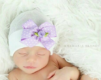 Newborn Hospital Hat! White with Lavender Polka Dot Bow and Topped off with a Flower! Super Sweet! Perfect as part of going home outfit too!
