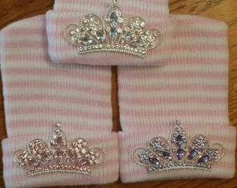 POPULAR BEST SELLER Newborn Hospital Hat! ExcLUsIvE To This Shop! 1st Tiara Rhinestone Keepsake!  Beautiful Baby Bling!