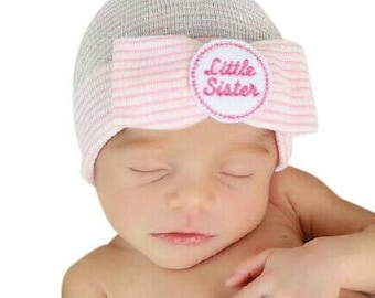 Our Popular Newborn Hat Now with Little Sister Embellishment Newborn Hospital Beanie.  Baby Newborn Hats.  Little Sister