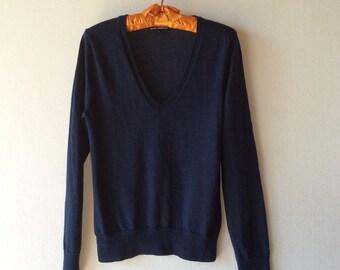 V-neck pullover sweater. Blue sweater. Italian merino sweater. Women's sweater. Club Monaco