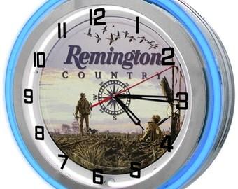 Remington Riffles Blue Double Neon Clock