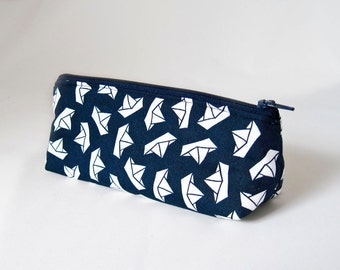 """Pencil Case, small pouch """"Paperboat"""", navy blue with white paperboats, school, university, small cosmetic bag"""