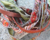 Vintage  Silk and Leather Fabric Ribbon Necklace