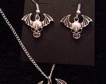 80p UK P+P Avenged Sevenfold Inspired Necklace & Earrings *SET* Death Bat Skull Wing A7X Matt Shadows *UK Seller*