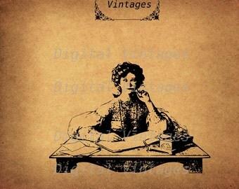 Thinking Woman at Writing Desk  Illustration Vintage Antique Digital Image Download Printable Graphic Clip Art Prints HQ 300dpi svg jpg png
