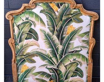 Children's palm banana leaf print single size upholstered head board