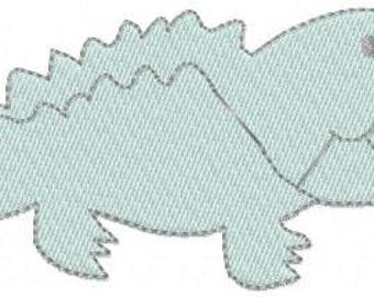 Machine Embroidery Design - Alligator - instant download