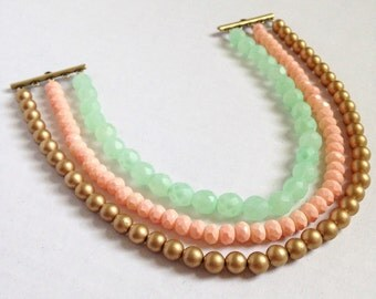 Mint, peach and gold  multistrand statement necklace -  mint statement necklace - peach and gold necklace - spring necklace